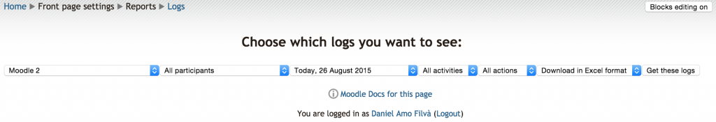 Moodle Logs report